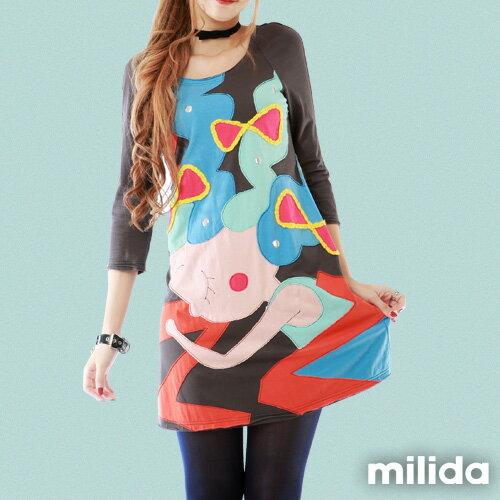 【milida】MMRYEA015☆貪睡女孩拼貼洋裝 2