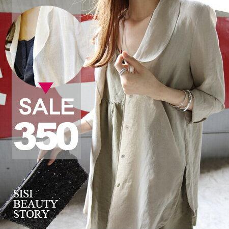 SISI【C6009】韓版中長款長袖開襟亞麻襯衫罩衫防曬衣披肩薄外套