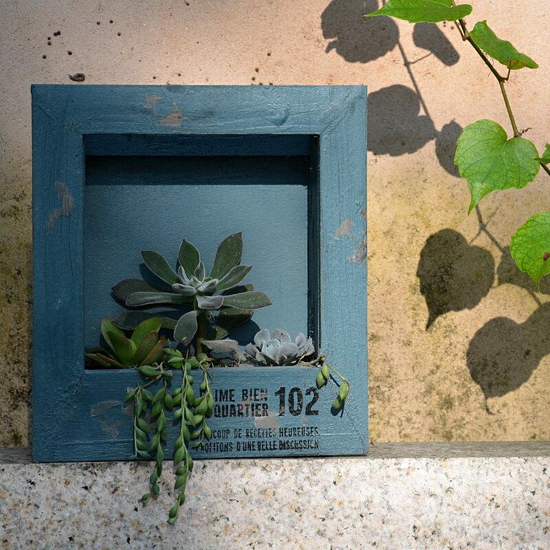 地中海做舊多肉相框 微景觀花盆掛植物組合盆栽桌面花藝插花盆1入
