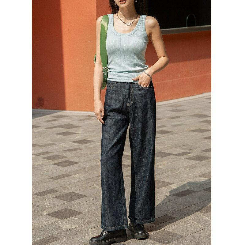 2021春季韓版深藍色寬鬆顯瘦牛仔褲女式氣質闊腿褲女