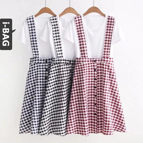 B.A.G*現+預*【DB1511】學院風格子兩件式短袖吊帶裙(現+預)-3色