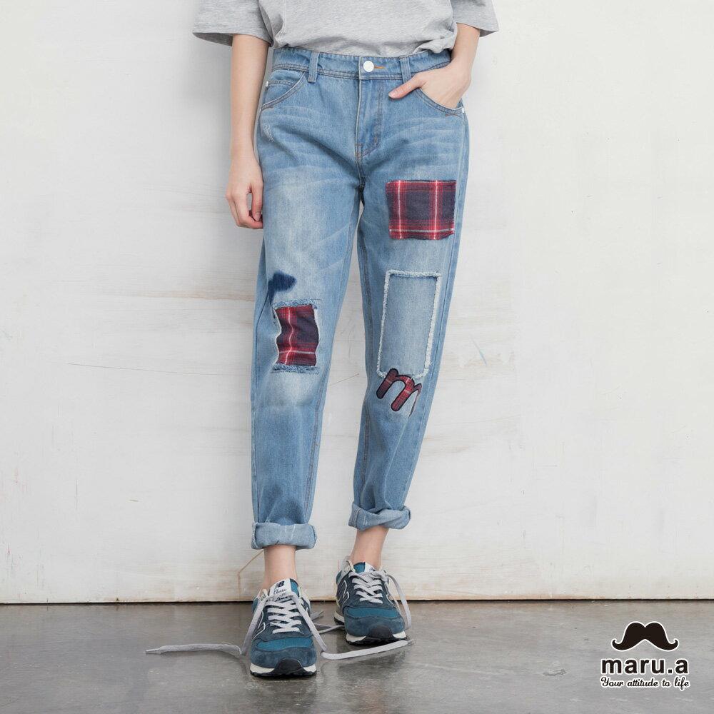 【maru.a】破壞感格紋補丁九分牛仔褲(2色)7915216 0