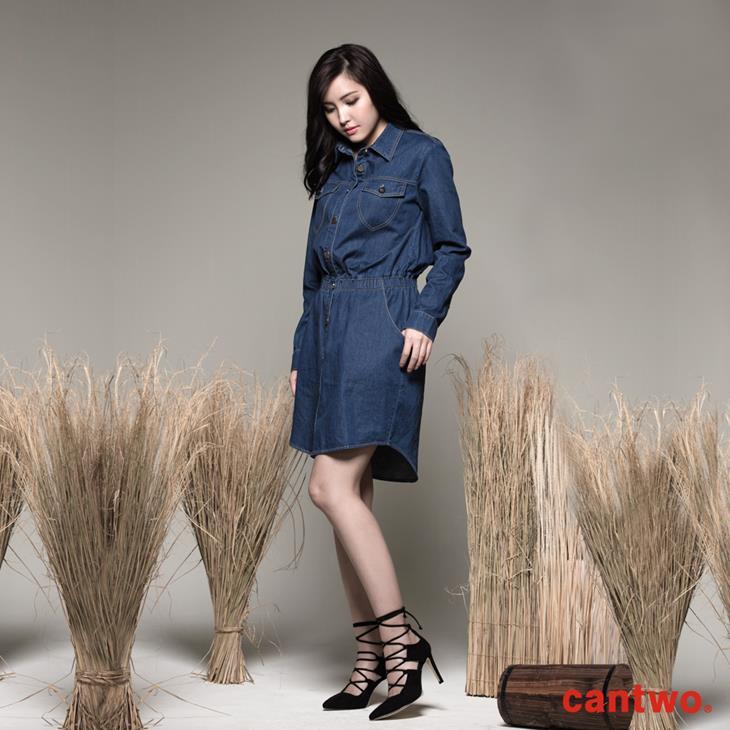 cantwo丹寧襯衫式長袖洋裝(共一色) 2