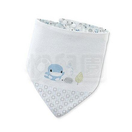 KU KU 酷咕鴨 竹纖有機棉格紋三角領巾 - 藍【悅兒園婦幼生活館】
