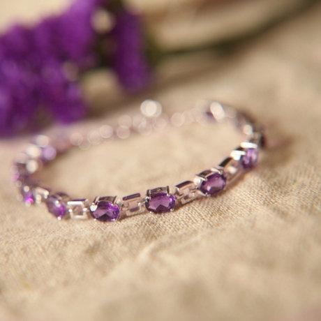 銀鑲嵌紫水晶手鏈女士飾品璀璨奢華水晶手鏈