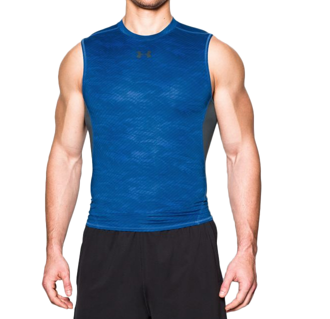《UA出清5折》Shoestw【1258861-907】UNDER ARMOUR UA服飾 緊身衣 背心 運動束衣 排汗透氣 藍色 男生