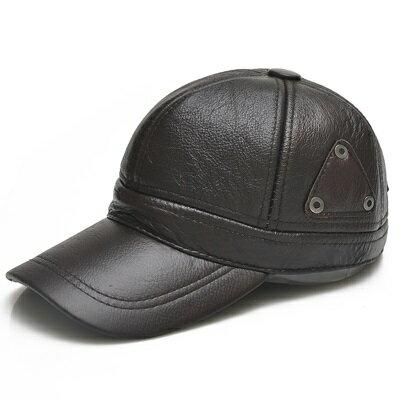 鴨舌帽真皮棒球帽-保暖護耳平紋牛皮男帽子2色73rq11【獨家進口】【米蘭精品】