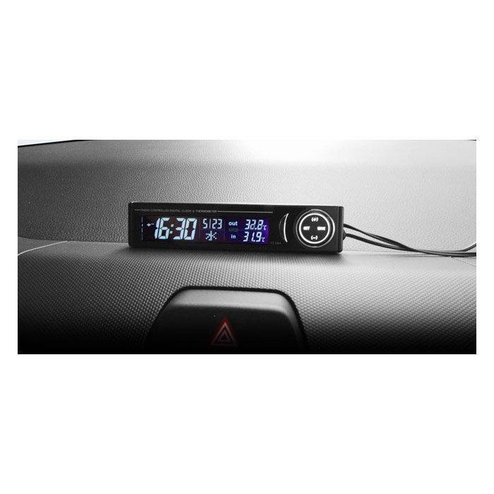權世界@汽車用品 日本 Kashimura 電波電子時鐘及車內外溫度計 點煙器+電池式 AK-128
