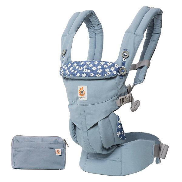 【送日本製拍嗝巾x1】美國【ErgoBaby】Omni全階段型四式360嬰兒揹帶(藍花)