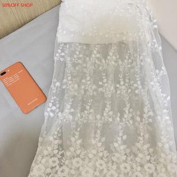 50 OFF SHOP:50%OFFSHOP白色蕾絲無袖網紗連衣裙打底外穿中長款裙子(1色)【G031986C】