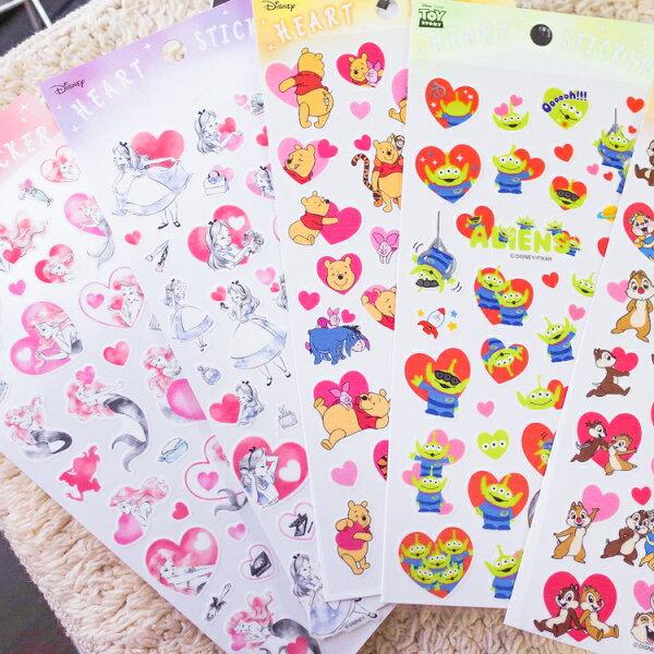 PGS7日本迪士尼系列商品-日貨迪士尼滿滿愛心貼紙維尼愛麗絲小美人魚三眼怪【SHJ71599】
