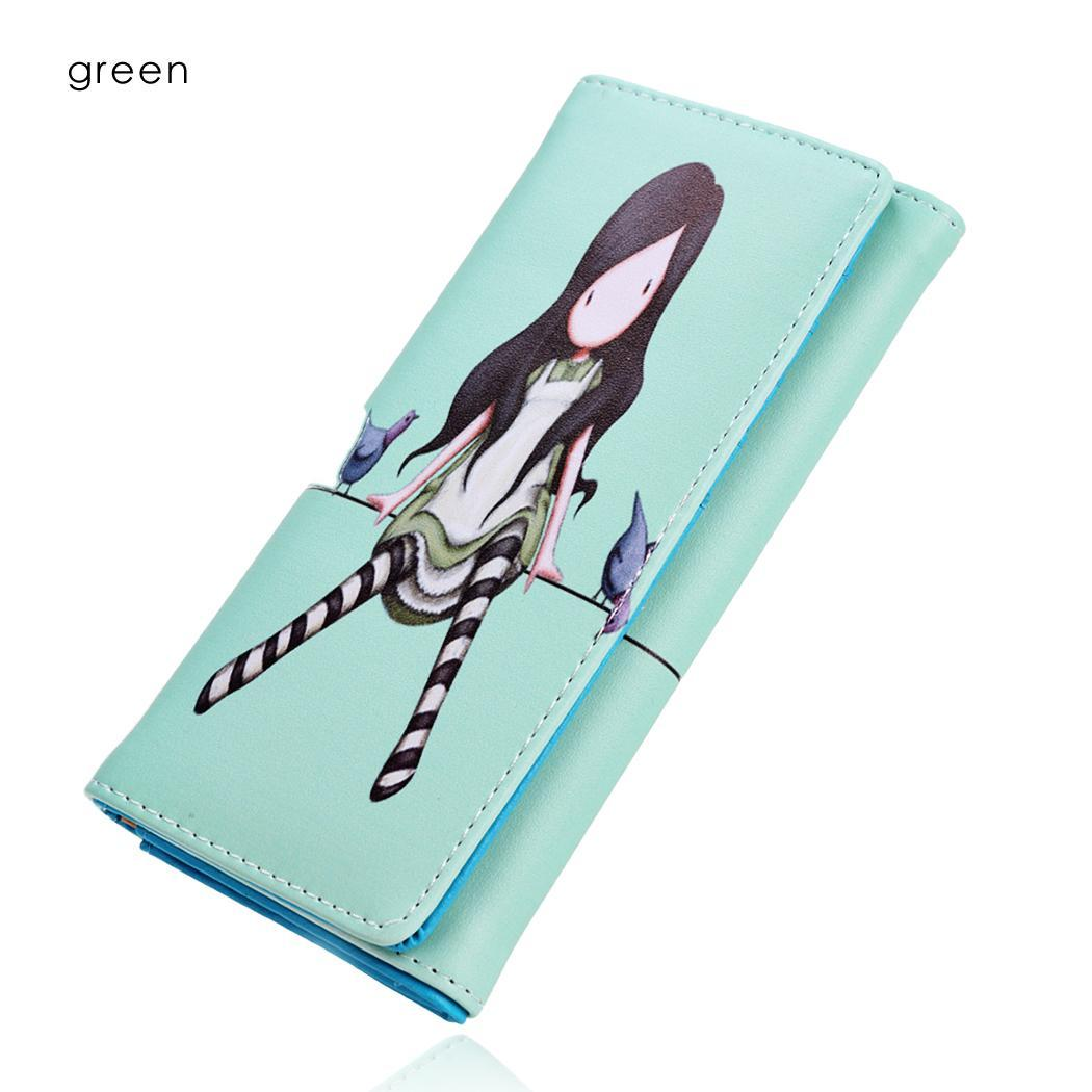 Synthetic Leather Wallet Card Holder Cute Print Ractangle Purse 2