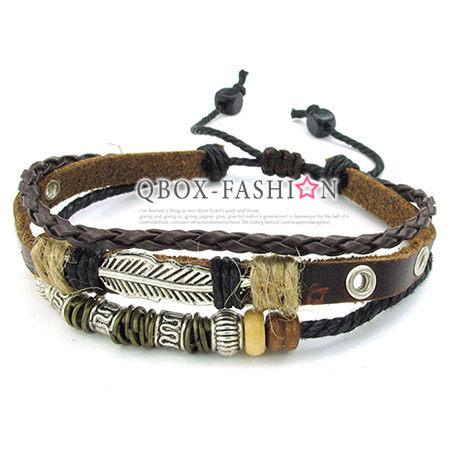 《 QBOX 》FASHION 飾品【W10023811】精緻個性多層次原住民配飾合金皮革手鍊/手環