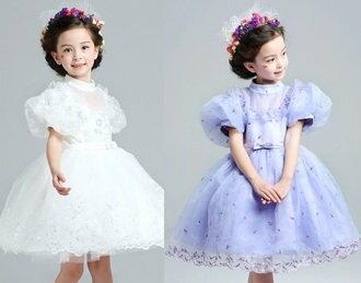 天使嫁衣:天使嫁衣【童C0174】2色小立領華麗公主袖舞台花童小禮服˙現貨