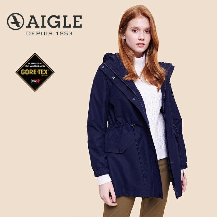 【AIGLE 法國】ANIKER GORE-TEX 防水外套 防水透氣外套 風衣 女款 深藍色 (AG-0A209-A057)