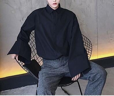 FINDSENSE品牌提升氣質的設計款男士個性闊袖子純色男士襯衫