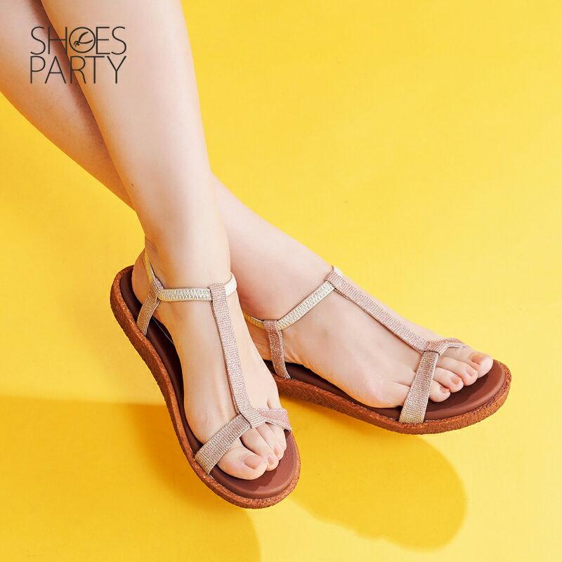 【S2-17623L】Simple+久走不累亮晶晶T字涼鞋_Shoes Party 1