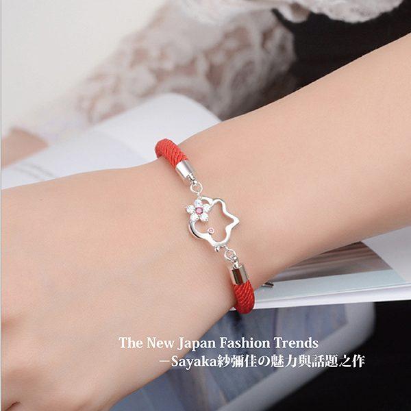 【Sayaka紗彌佳】純銀祈願紅線系列可愛狗狗造型鑲鑽手鍊