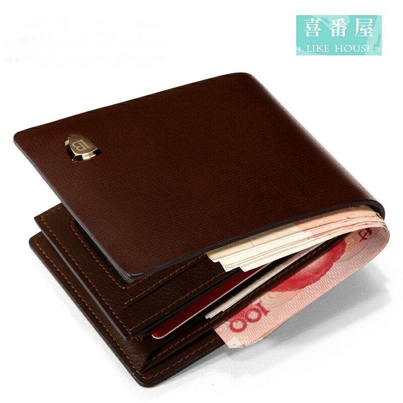 【喜番屋】日韓版真皮牛皮男士2折皮夾皮包錢夾零錢包短夾男夾男包LH362