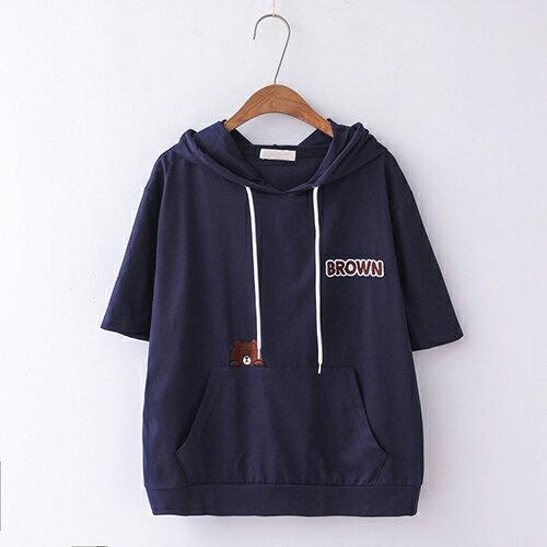 *ORead*簡約刺繡寬鬆棉質套頭連帽短袖T恤(4色F碼) 1