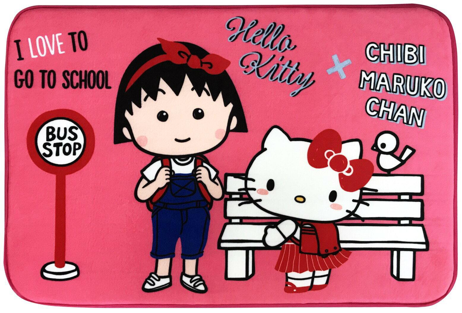 【真愛日本】 17120100013 聯名地墊-KTx小丸子上學桃 櫻桃小丸子 三麗鷗 kitty 凱蒂貓 腳踏墊