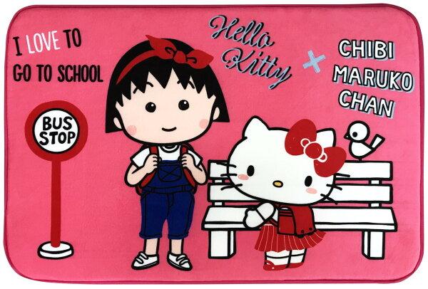 真愛日本:【真愛日本】17120100013聯名地墊-KTx小丸子上學桃櫻桃小丸子三麗鷗kitty凱蒂貓腳踏墊