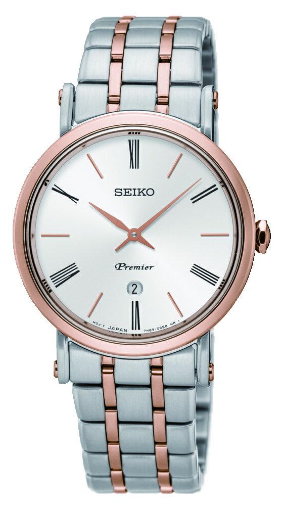 清水鐘錶 SEIKO 精工 Premier 系列超薄石英女錶 銀 雙色 7N89-0AY0G(SXB430J1) 30mm
