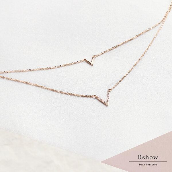 【Rshow】微鑲V形簡約雙層鎖骨鍊