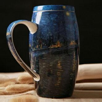 咖啡杯 彩繪馬克杯-梵谷名畫大容量附蓋骨瓷水杯2色72ax26【獨家進口】【米蘭精品】