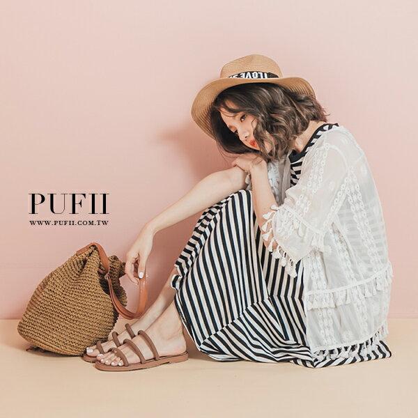 PUFII-罩衫 民族風雕花蕾絲流蘇邊開襟罩衫外套- 0615 現+預 夏【ZP12912】