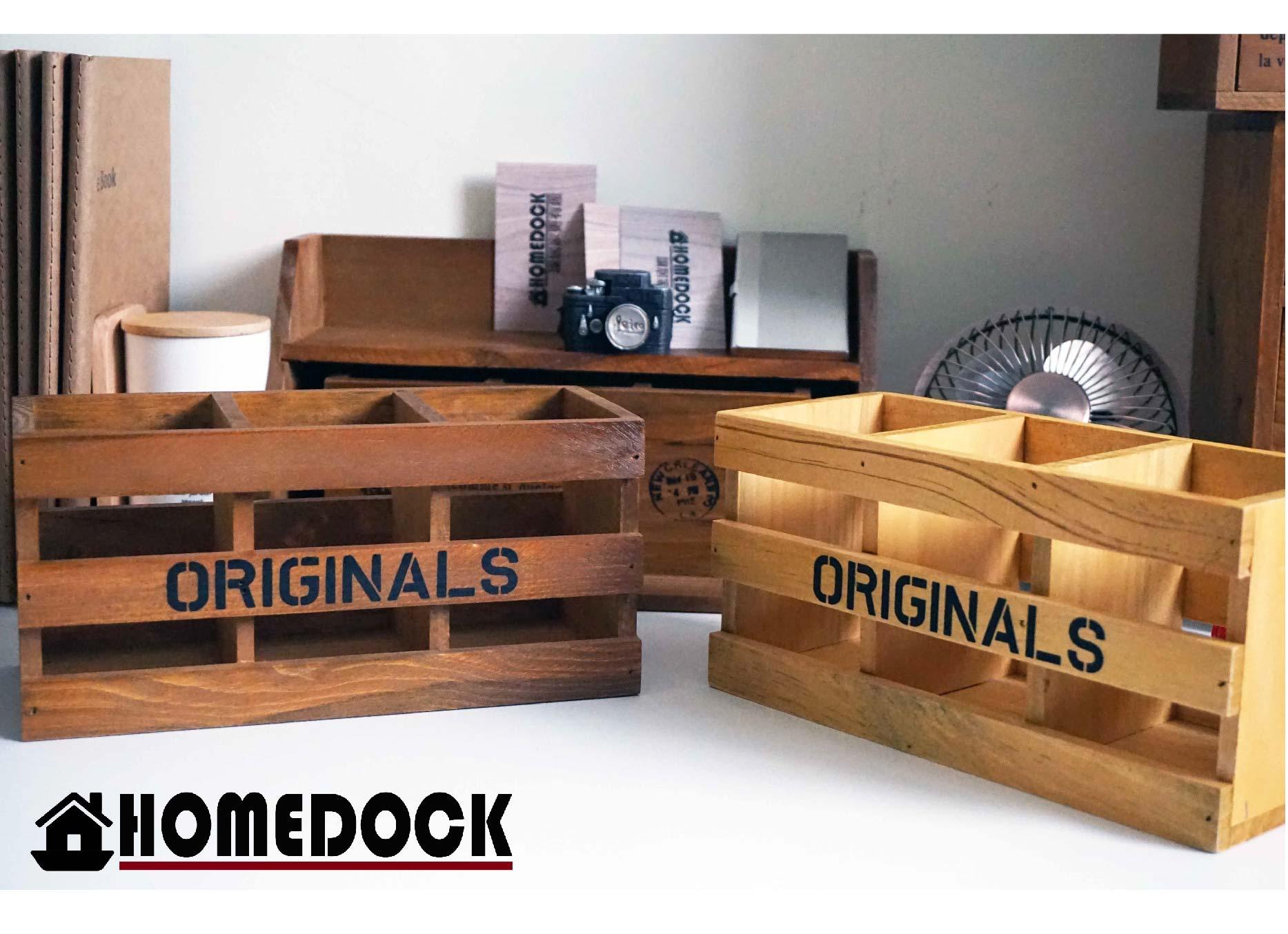 HOMEDOCK~長方書桌收納盒 木櫃 置物櫃 Zakka 雜貨 原木製 層格櫃 抽屜 雙