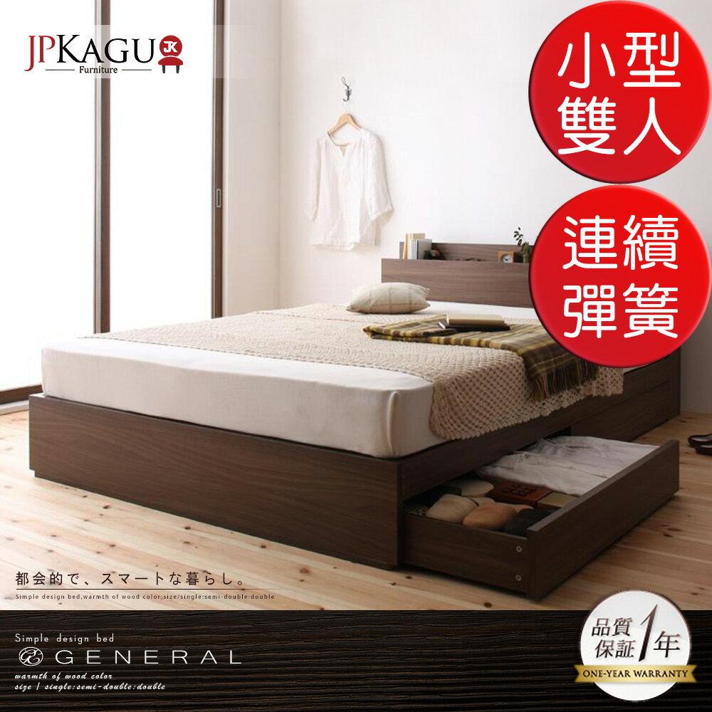 JP Kagu 附床頭櫃/插座抽屜收納木紋床組-高密度連續彈簧床墊小型雙人4尺(BK17386)