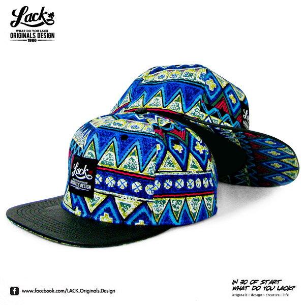 <br/><br/>  LACK ETHNIC BLUE SNAPBACK CAP LA131009BL - 花帽 黑皮革 民族風 限量 熱賣款 棒球帽<br/><br/>
