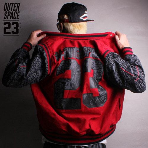 OS第23號宇宙棒球外套 黑紅兩色 OUTERSPACE 爆裂紋23免運