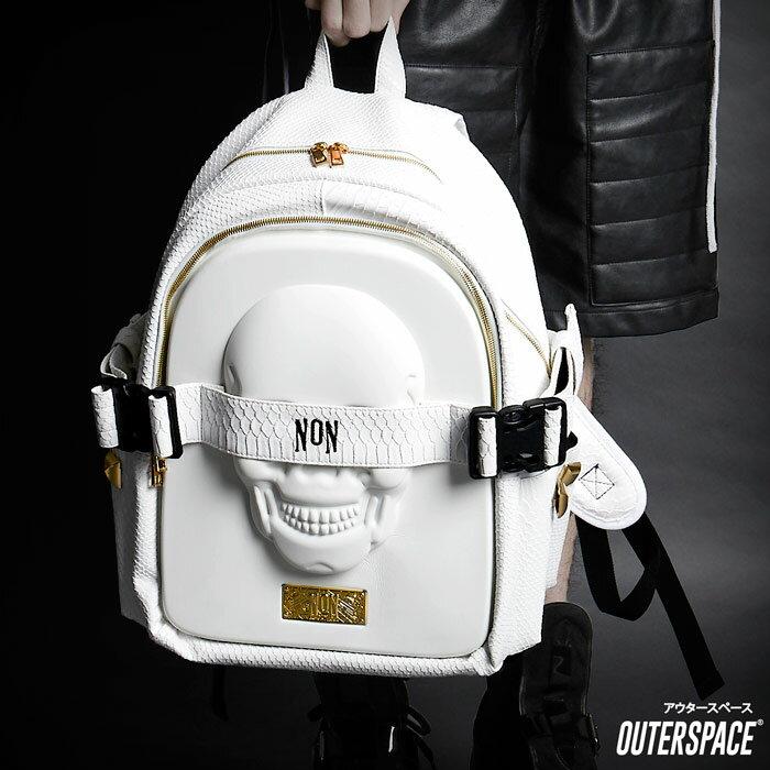 NON立體骷髏拼接皮革背包 -  3D 超兇 後背包   OUTERSPACE