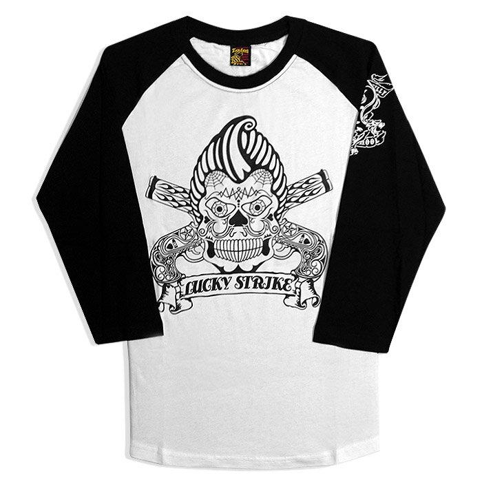 TIMEBOMB Rockabilly Skull Tee - 美國 刺青風 油頭 骷髏 七分袖 Rockabilly [免運]