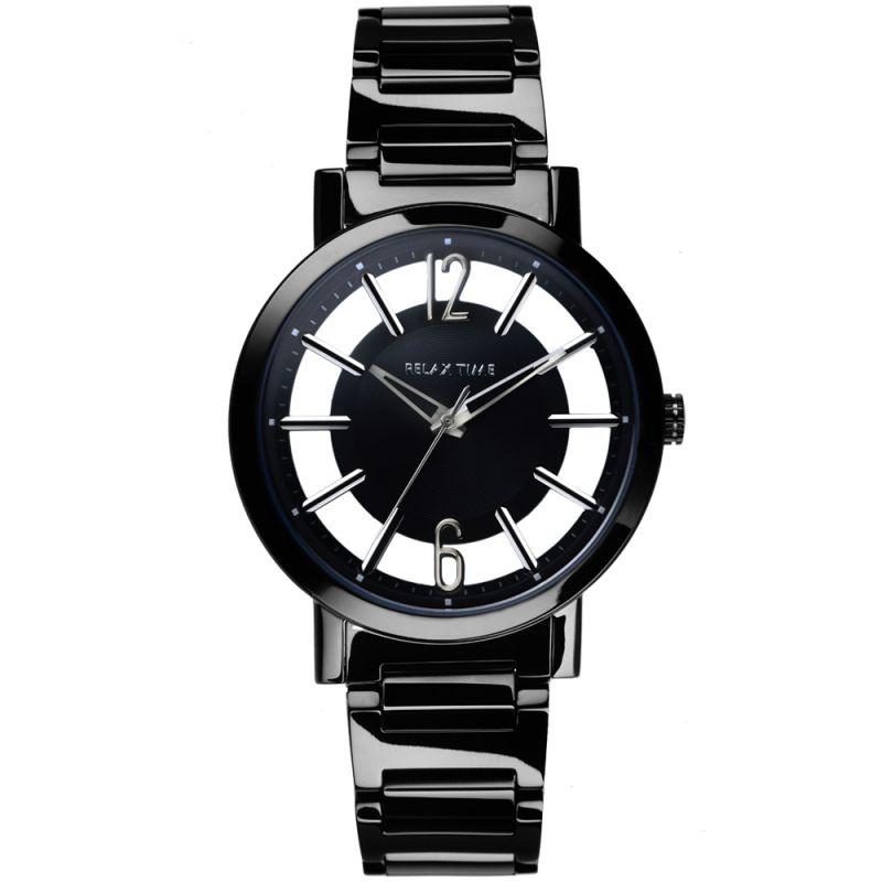 Relax Time RT-56-1L 簡約時尚鏤空腕錶/黑銀36mm
