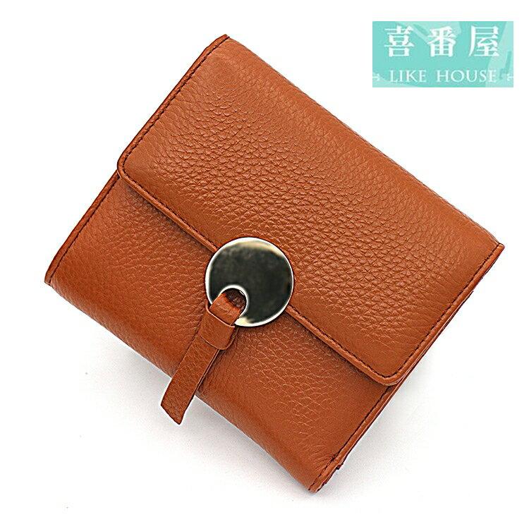 【喜番屋】真皮牛皮三折女士8卡位皮夾皮包錢夾零錢包短夾中夾女包女夾LH424