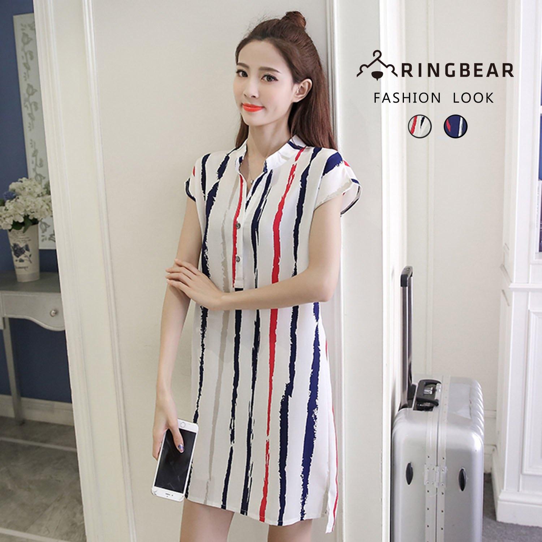 連身洋裝--個性風V領修飾輕柔涼爽條紋俐落短袖洋裝(白.藍M-3L)-D478眼圈熊中大尺碼 0