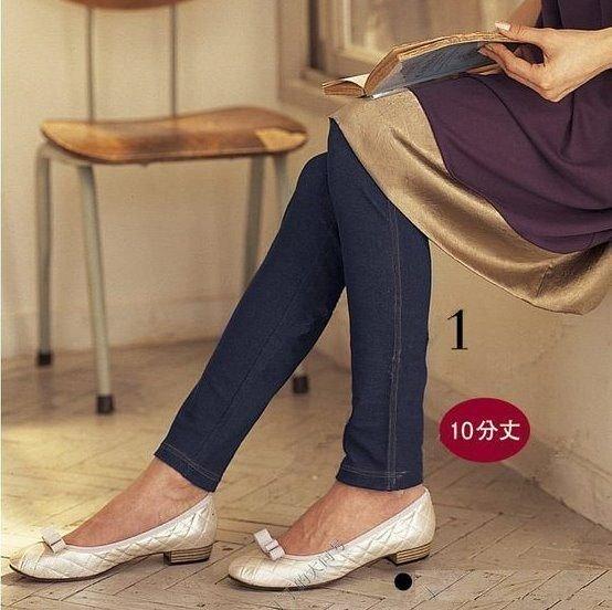 *漂亮小媽咪*熱銷日本孕婦打底褲時尚仿牛仔十分褲 內搭褲 腰圍可調 Q016