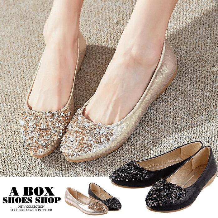 【ASA-8】尖頭包鞋 娃娃鞋 舒適2CM坡跟鞋 PU皮革水鑽材質 2色