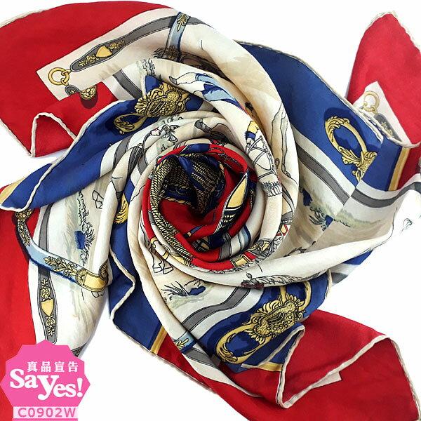【奢華時尚】秒殺推薦!HERMES 紅藍白三色馬車印花87公分絲質大披肩圍巾(八成新)#21885