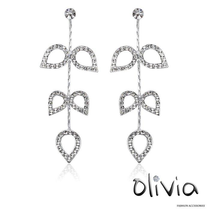 Olivia 耳針耳環 典雅對稱水滴鑲鑽設計耳墬耳環【G20843】