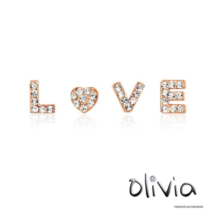 Olivia 耳針耳環 ※LOVE※字母施華洛鑽耳針耳釘耳環【G23477】
