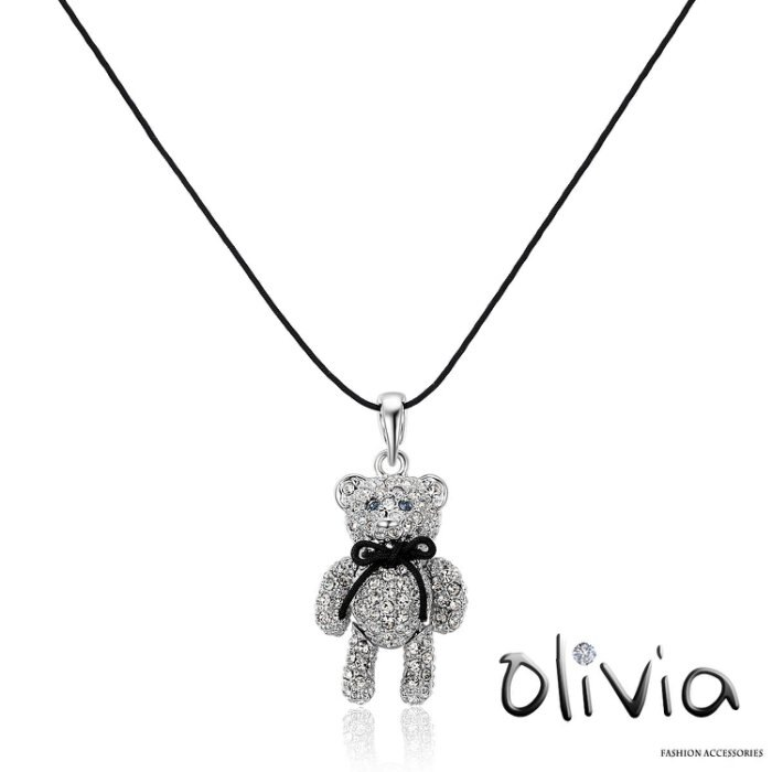 Olivia 鎖骨項鍊 可愛立體蝴蝶結小熊水鑽鎖骨項鍊【E10961】
