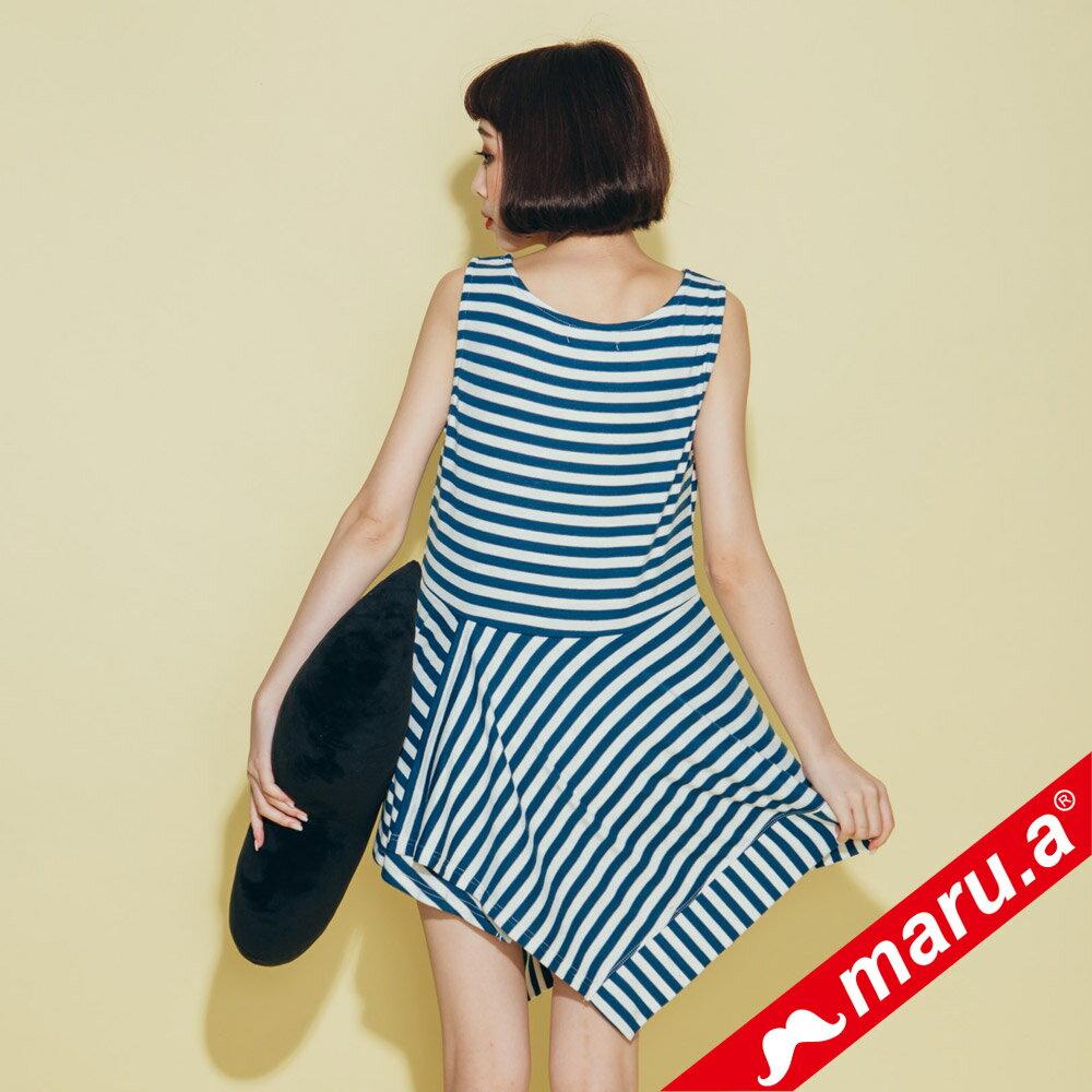 【maru.a】不規則下擺條紋上衣  8321312 3