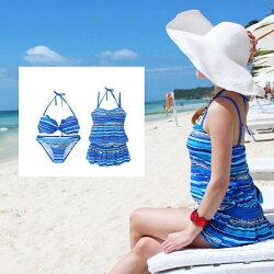 顯瘦 泳裝 條紋連身洋裝罩衫+繞頸比基尼泳裝  3件式  情侶款   橘魔法 magic G 現貨
