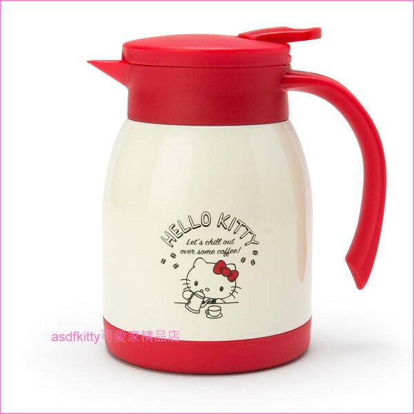asdfkitty可愛家☆KITTY咖啡不鏽鋼真空保溫保冷水壺茶壺熱水瓶-600ML-日本正版商品