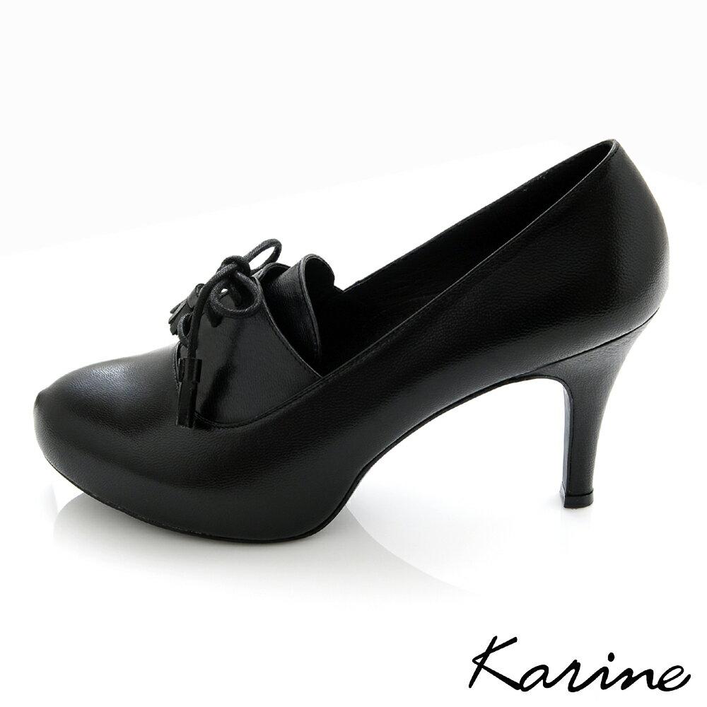 karine^(MIT 製^)全真皮綁帶流蘇低音高跟鞋~黑色