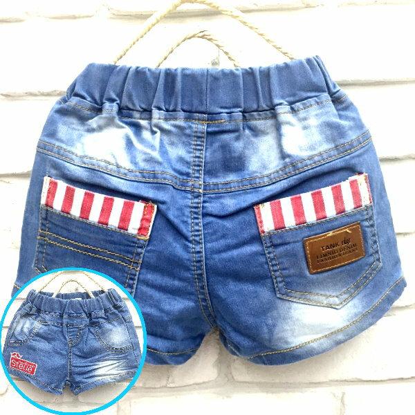 ~班比納 ~超彈力翹鬍子貼布皮革口袋牛仔短褲  熱褲~藍~BB160220005~